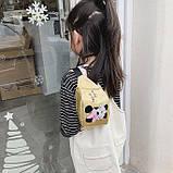 """Женская детская голографическая блестящая бананка """"Микки Маус """" золотая, фото 5"""