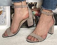 Mia style! Классические летние женские замшевые босоножки на каблуке 6, 5 см, фото 1