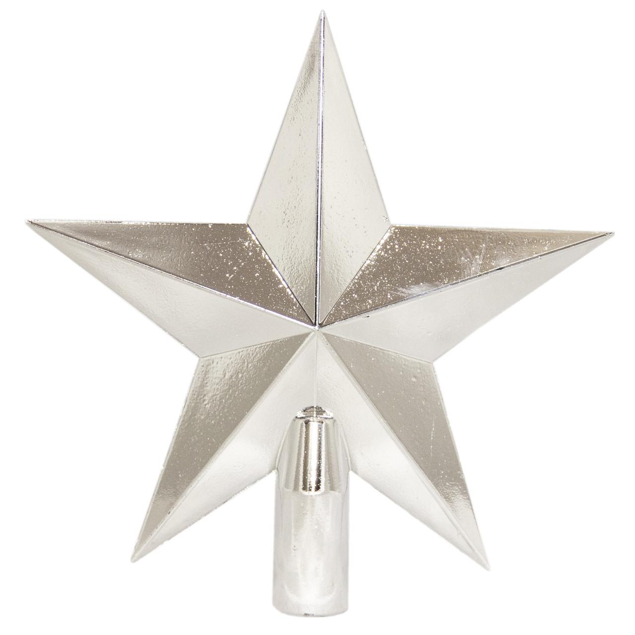 """Елочное украшение - верхушка на елку """"Звезда"""", 20 см, глянец, серебристый, пластик (030927-1)"""