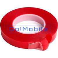 Скотч двухсторонний прозрачный (красный 10 мм 25 метров)