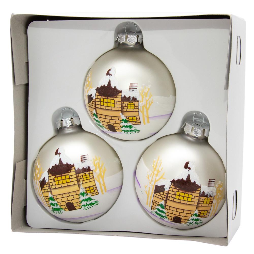Набор елочных шаров 8*3шт. матовые с росписью, стекло, серебро (390441-5)