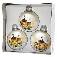 Набор елочных шаров 8*3шт. матовые с росписью, стекло, серебро (390441-5), фото 1