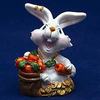 Фигурка сувенирная Кролик, морковка в ведре красная, 7,5см (440467-3)