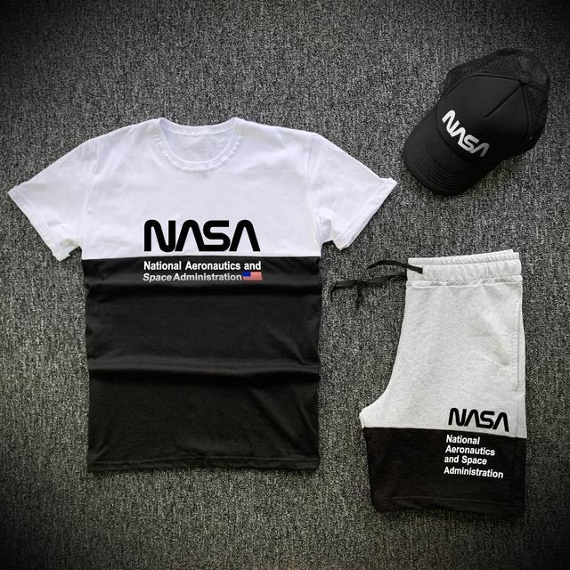 Шорты футболка и кепка Nasa черно-серого цвета фото