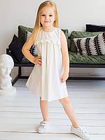 Красивое детское платье из льна полуприлегающего силуэта  с застежкой молнией по спинке