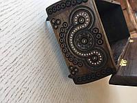 Виріб Скринька з дерева горіх сувенірна дерев'яна яна авторської ручної роботи бісером інхрустована 28*14*10 см, фото 1