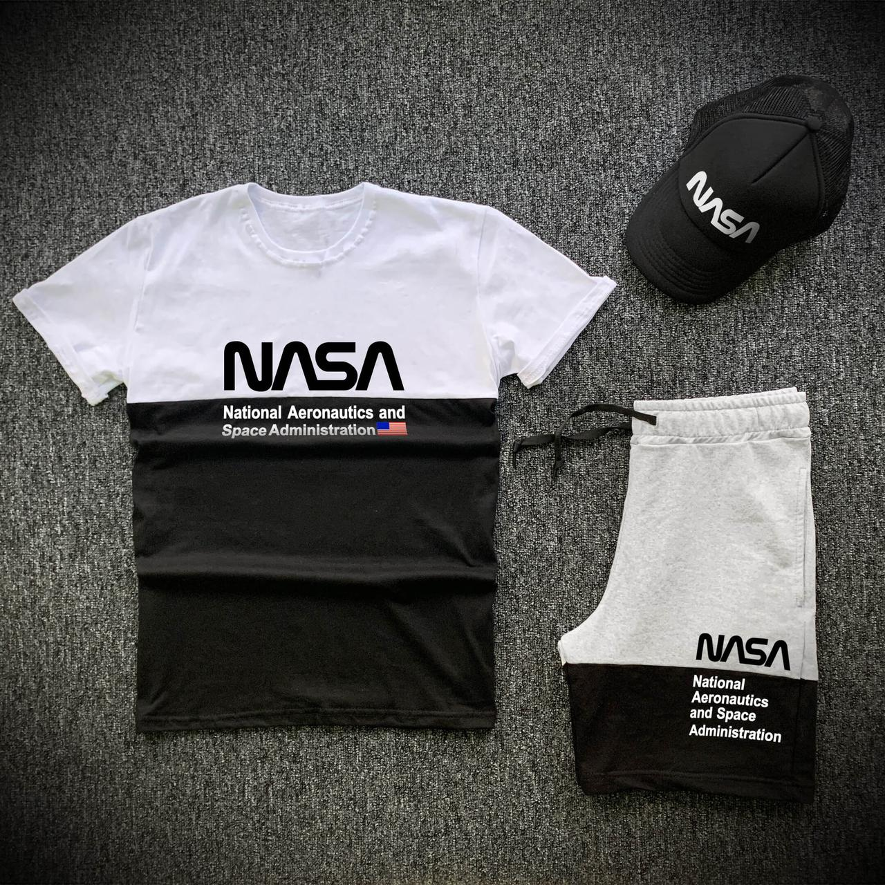 Шорты футболка и кепка Nasa черно-белого цвета (Модный мужской спортивный костюм Наса на лето 3 в 1)