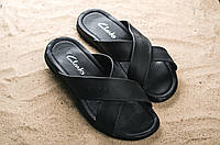 Мужские шлепанцы кожаные летние черные Yuves X16
