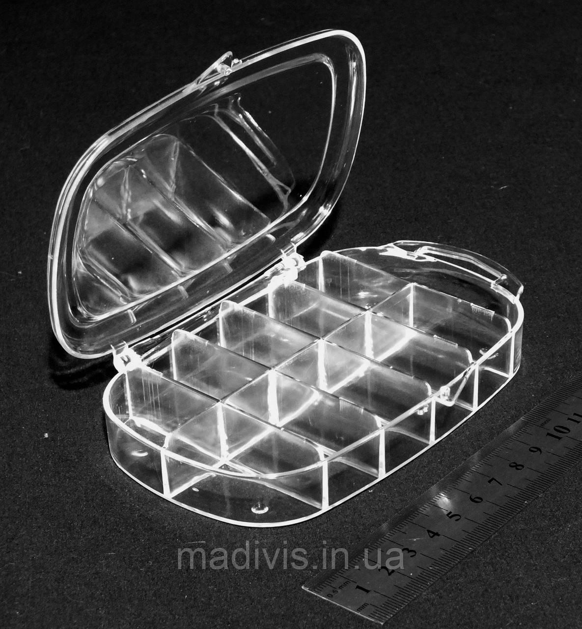 Акриловая коробочка-органайзер для бисера 11 отделений (14,5 х 9 х 2,5 см.)