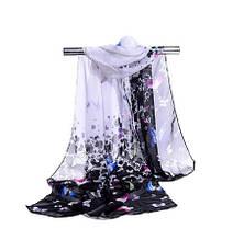 Женский шифоновый шарфик с бабочками - размер шарфа приблизительно 145*48см, 100% вискоза