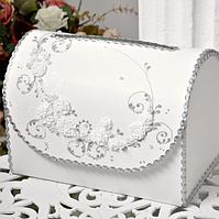 Свадебный сундучок для денег 30х21х18 см белый с лепкой, Украина