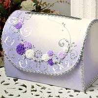 Сундучок свадебный для денег 30х21х18 см фиолетовый ручной работы, Украина