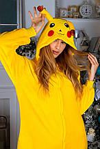 Теплая пижама Кигуруми Пикачу Для взрослых и детей Желтого цвета