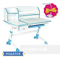 Парта трансформер для школьника для дома FunDesk Amare II Blue с выдвижным ящиком