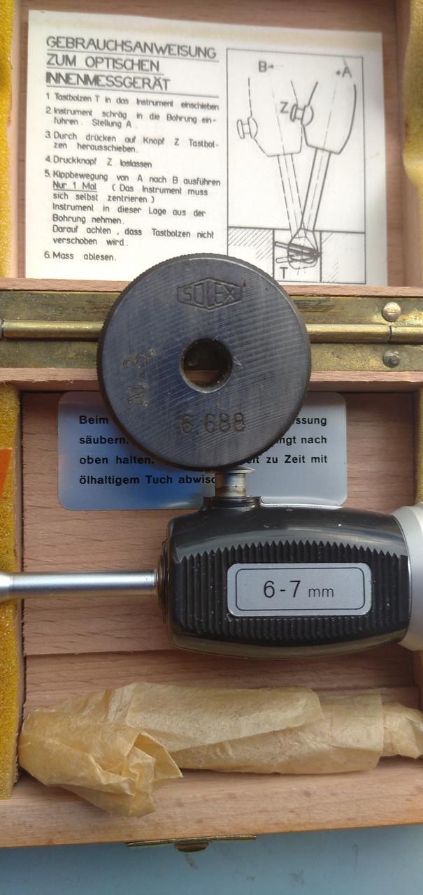 Нутромер НМ  6-7мм(Германия) ц.д. 0,001мм  с кольцом установочным 6,688, возможна  калибровка  в УкрЦСМ