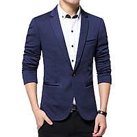 Пиджак casual мужской приталенный под джинсы, пиджак мужской с одной пуговицей на каждый день темно синий, M