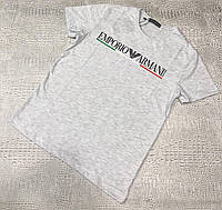 Мужская футболка Emporio Armani D9609 светло-серая