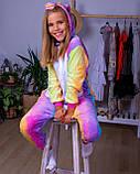 Теплая пижама Кигуруми Единорог Радужный Для взрослых и детей, фото 7