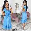 Модное платье женское на пуговицах (3 цвета) ЕФ/-542 - Голубой