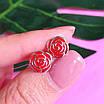 Серьги Розы серебро с эмалью - Серебряные серьги, фото 5