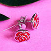 Серьги Розы серебро с эмалью - Серебряные серьги, фото 2
