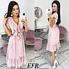 Модное платье женское на пуговицах (3 цвета) ЕФ/-542 - Розовый
