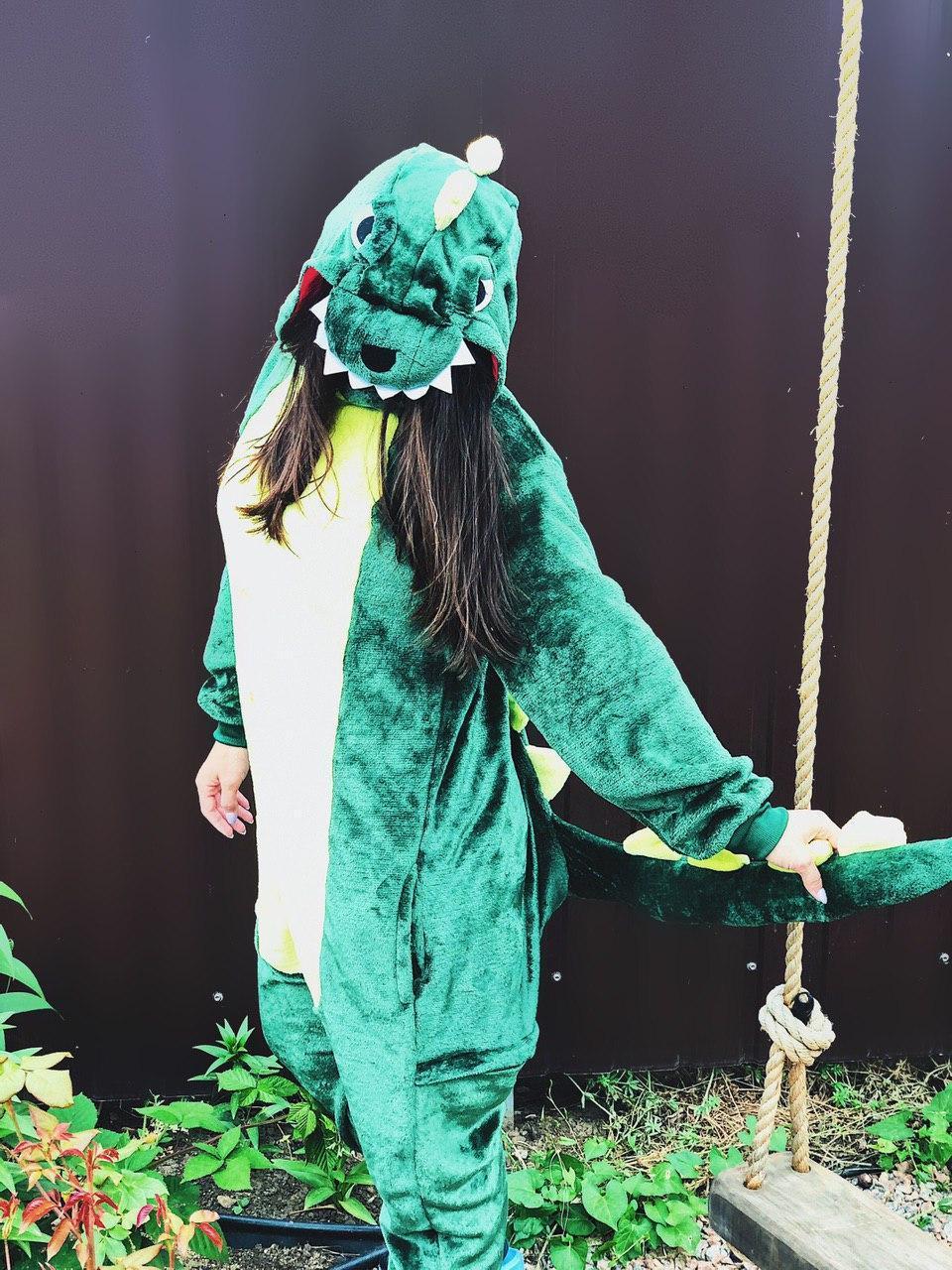 Тепла піжама Кигуруми Дракоша Для дорослих і дітей Зеленого кольору