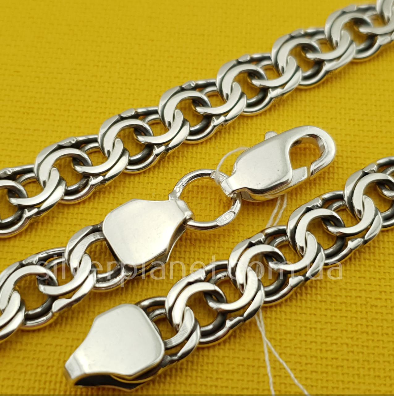 Срібна ланцюжок Бісмарк (плоский / ширина 7,5 мм)