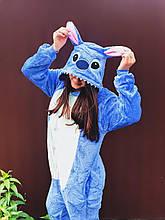 Теплая пижама Кигуруми Стич   Для взрослых и детей Синего цвета