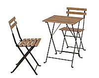 Садовый складной набор мебели (столик и 2 стула) из дерева и стали