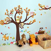 """Интерьерная наклейка на стену в детскую комнату """"Осеннее дерево с совами и животными EN71"""""""