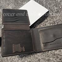 Стильный коричневый кошелек портмоне на магнитах из натуральной кожи GP