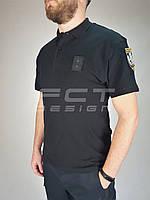 Футболка поло для полиции черная  с липучками 100% хб