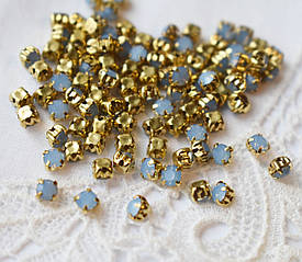 Стразы пришивные 3 мм, стекло,10 шт, голубой опал