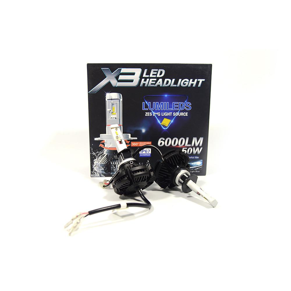 Автомобільні LED лампи H1 8000K/6000лм 50W X3 Philips (ЛЕД автолампи з активним охолодженням і ip67)