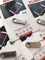 Мини-флешка с отверстием для ключей 2.0 64Gb ATLANFA AT-U3 Silver