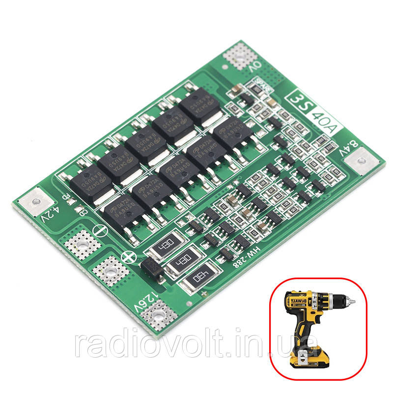 BMS 3S 40A 12,6В Контроллер заряда разряда Li-ion батарей, балансировка