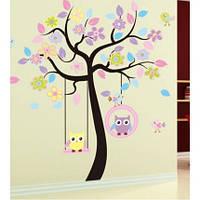 """Детская интерьерная наклейка на стену """"Совы на дереве bJM7186"""""""