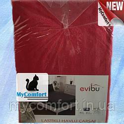 Простынь на резинке махровая + 2 наволочки. Красный 160*200