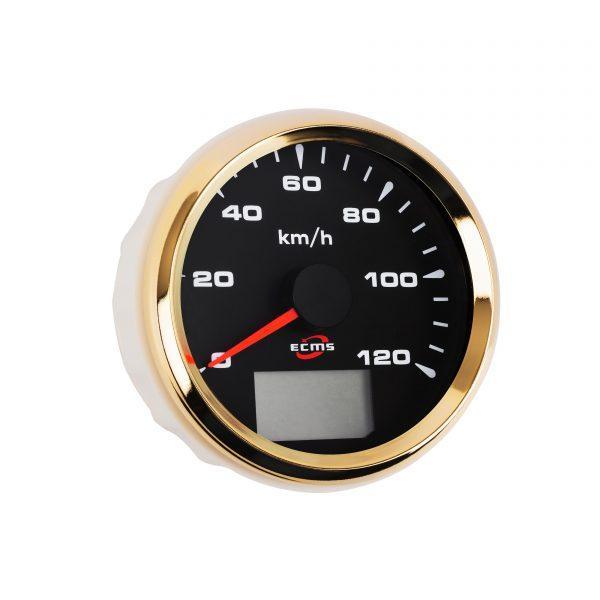 Спідометр GPS ECMS HMG3-BG-120KL діаметр 85мм, рамка золото, чорний дисплей