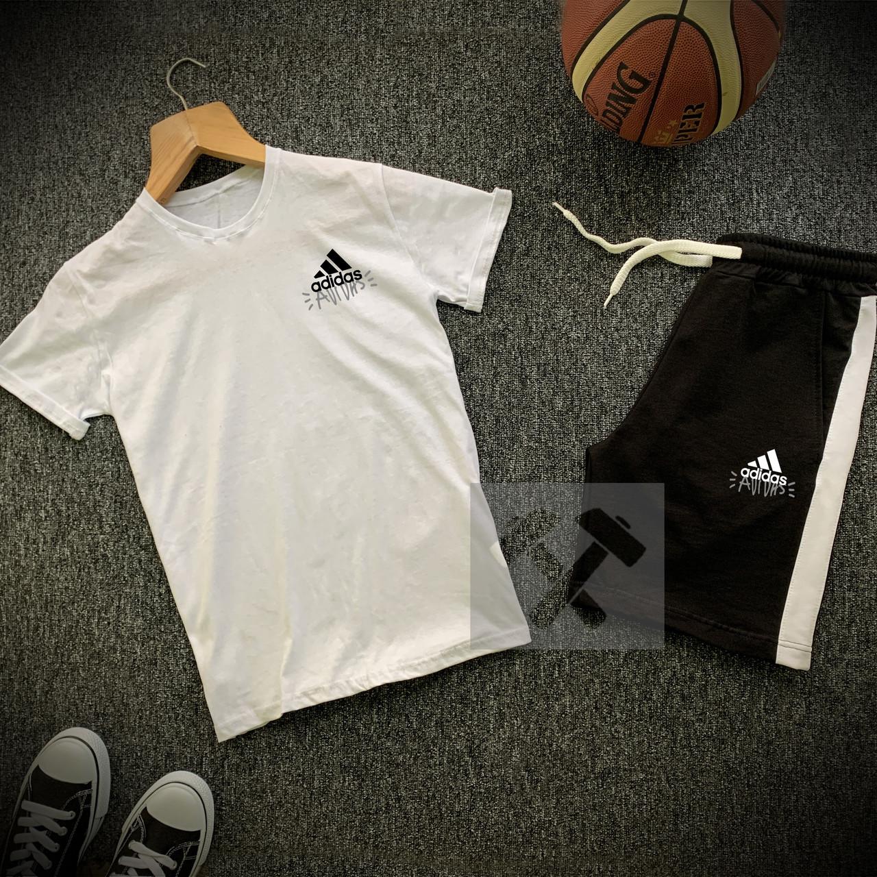 Мужской комплект летний adidas (реплика) футболка   шорты Цвет: белый