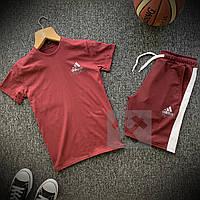 Мужской комплект летний adidas (реплика) футболка | шорты Цвет: бордовый