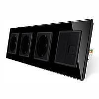 Розетка чотиримісна комбінована Силова Інтернет Livolo чорний скло (VL-C7C3EU1CK0-12)