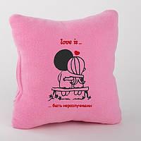Подушка любимым «Любовь это быть неразлучными» розовый флис_склад
