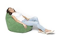 Кресло мешок груша, бескаркасное кресло зеленое (ткань) (400009)
