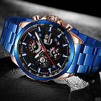 Часы мужские наручные механические с автоподзаводом Forsining Blue-Cuprum-Black