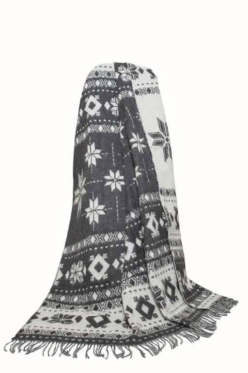 Плед жаккардовый Снежинка 140х200см (бежевый, серый) ТМ Vladi
