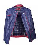 Женская демисезонная куртка больших размеров, синяя, размеры 50-60, фото 3