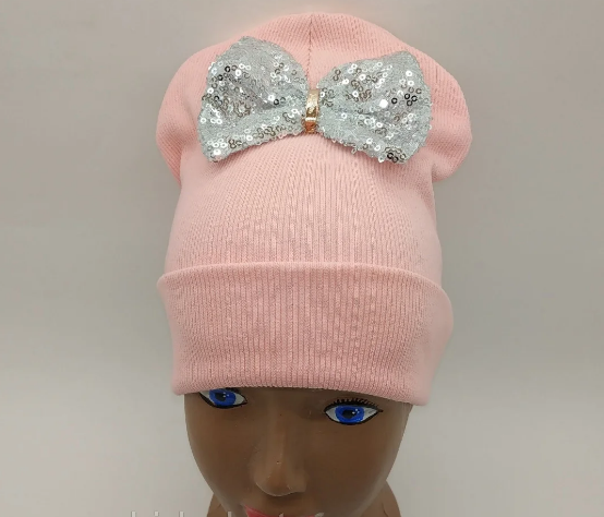 Трикотажна шапочка з одворотом і бантиком, розмір 46-50