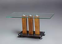 Стеклянный кофейный столик на колесах модель Карл